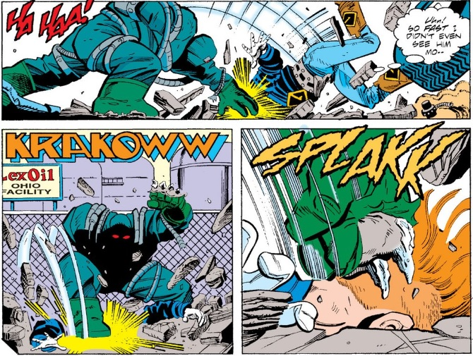 Ted Kord nearly dead from his face being tossed into things? Not funny.  This? This is hilarious.